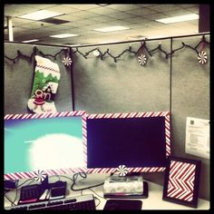 Idea for Deon's monitor for Candy Cane Lane Christmas Cubicle Decorations, Candy Cane Decorations, Holiday Decor, Office Decorations, Decor Ideas, Christmas Projects, Christmas Crafts, Cube Decor, Christmas Love