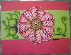 Poppy stamp from Memory Box, filled with tangles ~