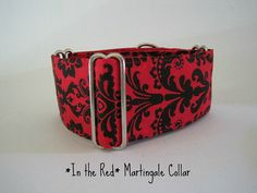 Martingale Collar Red and Black Damask Christmas by HuggableHound, $19.99