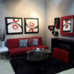 The Downside Risk of Best And Eye-Popping Red Living Room Color Schemes - casitaandmanor Red Couch Living Room, Living Room Sectional, New Living Room, Home Interior, Interior Design Living Room, Living Room Designs, Red Living Room Decor, Red Home Decor, Red Bedroom Decor