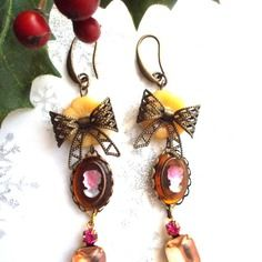Boucles d'oreilles vintage bronze et pêche