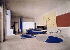 Eileen Gray et Jean Badovici, Villa E 1027, vue du salon, photographie rehaussée au pochoir, 1929, inL'Architecture vivante, 1929.