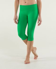 Have these in bright green and bright blue.  In the Flow Crop-Lululemon.  No muffin top with these!