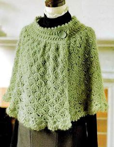 Crochet Chales: Cabo Poncho - Mujer Crochet Cabo para el invierno