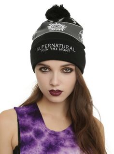 Black knit pom beanie with Fair Isle design and embroidered Supernatural logo