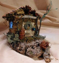 Faerie House Pine Cone Butter Box Home by Faeriearthart on Etsy