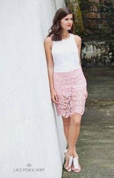 pink lace skirt by apairandasquare