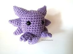 This is a listing for ONE Haunter pokemon crochet toy.  You can purchase all three here: https://www.etsy.com/listing/230179448/gaspoison-evolution-set-gastly-haunter  Little chibi Haunter is ready for some scary cute adventure. ♥Little Facts: - Chibi Haunter is made with 100% acrylic Light Lavender yarn and has Black safety eyes that are secured with washers. He is well stuffed yet squish-able with polyfil cotton stuffing. -He stands about 5 inches tall(from tip of ears to jagged tail)…