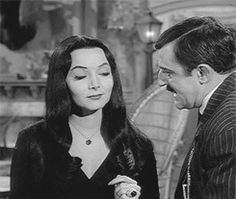 Morticia and Gomez Addams The Addams Family 1964, Addams Family Tv Show, Adams Family, Los Addams, Morticia And Gomez Addams, Charles Addams, Carolyn Jones, The Munsters, Men Kissing