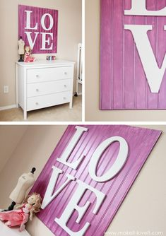 bead board   letters. How easy and inexpensive to decorate a wall. You could do PLAY, LAUGH, SMILE, GIGGLE, LIVE. All sorts of options and the letters are super inexpensive at the hobby stores. Less than $10 project!