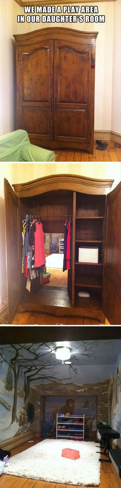 A secret door in this wardrobe leads to a Narnia-esque playroom. (From It has Narnia in it. Narnia is always good. Deco Design, My New Room, My Dream Home, Dream Kids, Future House, Home Goods, Sweet Home, House Design, Design Room