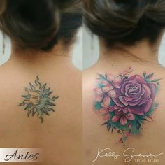 Cover Up Back Tattoos, Neck Tattoo Cover Up, Back Of Neck Tattoos For Women, Floral Back Tattoos, Cover Up Tattoos For Women, Pretty Tattoos For Women, Neck Tattoos Women, Upper Back Tattoos, Tattoos For Women Flowers