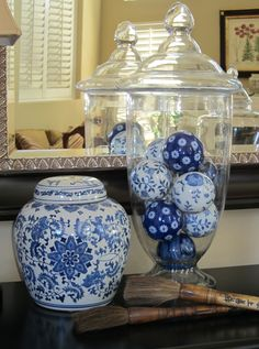 Jars … filler ideas Apothecary Jars … filler ideas, Apothecary Jars … filler ideas, Two's Company Canton Collection. Hexagon Ginger Jar with Lid Blue And White China, Blue China, Blue Rooms, White Rooms, Apothecary Jars Decor, Jar Fillers, Muebles Shabby Chic, Decor Scandinavian, White Dishes