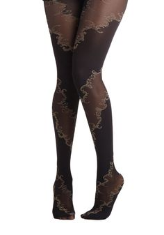 Lavishly Vining Tights. Your silver sequined dress grows even more glam when you slip into the panels of opaque and sheer black wrapping these patterned tights. #black #modcloth