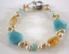 Amazonite and yellow jade with fresh water pearls