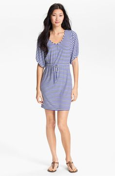 Calvin Klein Blouson Sleeve Stripe Jersey Dress...cant wait for summer