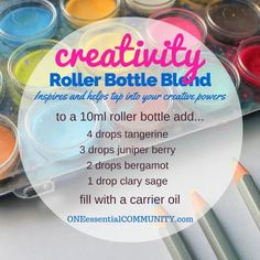 """""""creativity"""" roller bottle blend inspires and helps tap into your creative…"""