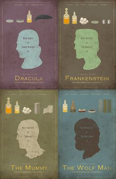 Classics..... <3      Universal Monsters Series 4Pack 11x17 Movie by adamrabalais - on Etsy....