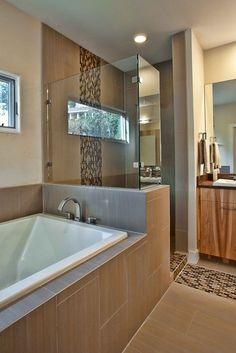 Modern Bathroom shower tile Design Ideas, Pictures, Remodel and Decor Bathroom Renos, Bathroom Renovations, Bathroom Interior, Home Remodeling, Bathroom Ideas, Tile Bathrooms, Open Bathroom, Bathtub Ideas, Bathroom Layout