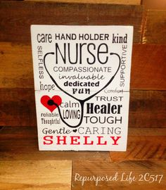 Nurse Subway Art Wooden Sign Personalize Wood Nurse Sign Typography gift NURSE APPRECIATION WEEK! Awesome Gift For any Nurse! Hand Painted