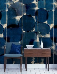Mind The Gap Wallpaper Collection - Indigo Marvel at Rose & Grey