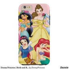 Disney Princess | Birds and Animals Tough iPhone 6 Plus Case. Beautiful Disney princess designs to personalize and make your own.  Great gift ideas for birthdays. #disney #disneypricess #princess #giftideas #kids #birthday #personalize #shopping