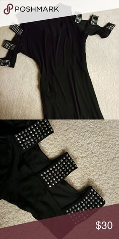 Holiday Slinky Dress Never worn black slinky dress with strappy rhinestone studded sleeves. See closeup picture. Beautiful detail!  Perfect for New Years Eve or attending a wedding!  Size 2x @ 18. Very figure flattering!  Non smoking home Dresses Midi