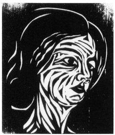 Portrait de Mme Nolde  par Ernst Ludwig Kirchner  Gravure sur bois