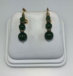 Chinese Vintage Art Deco Spinach Jade Beads Screw Back Dangle Drop Earrings by 88AsianAntiques on Etsy