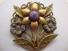 Vintage Floral and Amethyst Brooch by theatticshop on Etsy, $16.00