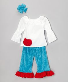 Any little angel's look will simply soar in this sweet set. The breezy top and soft minky pants go on easily thanks to an elastic neckline and waistband, while the coordinating bow finishes the ensemble like a bright cherry on top!