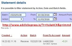 Here is my #86 Withdrawal Proof from Ad Click Xpress. I get paid daily and I can withdraw daily. Online income is possible with ACX, who is definitely paying - no scam here. I WORK FROM HOME less than 10 minutes and I manage to cover my LOW SALARY INCOME. If you are a PASSIVE INCOME SEEKER, then AdClickXpress (Ad Click Xpress) is the best ONLINE OPPORTUNITY for you. Join for FREE and get 20$ + 10$ + 5$ Monsoon, Ad and Media value packs from ACX.