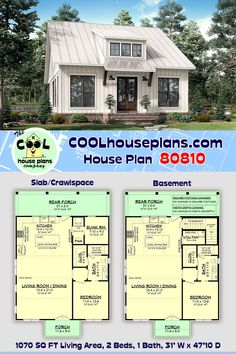 This charming country cottage escape plan offers one full size bedroom, one bunk room and a full size bath with large shower. The living, dining and kitchen are all open for easy entertaining and plenty of windows for natural light and to take in those amazing views. The design offers a large rear porch with a simplistic overall design to minimize the budget. Small house plan, Southern Cottage Design, Affofdable Floor Plan, Country Home, Country Living, Building a House. #COOLhouseplans Rustic House Plans, Farmhouse Floor Plans, Cabin Plans, Cottage Plan, Cottage Farmhouse, Cottage Design, Tiny House Design, Studio Floor Plans, Beech Mountain