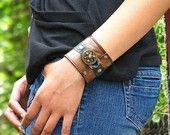 Leather Wrist Wallet Cuff with Secret Pocket