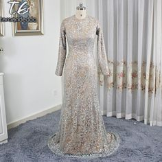 Hoge O-hals Brown Mermaid Lange Mouwen Sequin Prom Dress Saudi Arabië Stijl Avondfeest Jassen vestido longo de festa