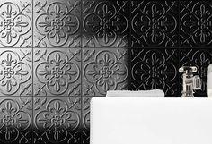 NC231025 - Onyx Windsor Anthology Black Tiles, Windsor, Bathroom, Pressed Metal, Pepper, House Ideas, Washroom, Bathrooms, Capsicum Annuum