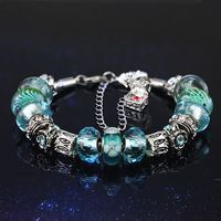 fashion gift for lovers S925 sterling silver Violet Blue Murano Glass Beads Europe Fits pandora Charm Bracelets & Bangles