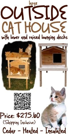 The large outdoor cat house with lower and raised lounging decks has Thermal-Ply insulation, inside the floor, walls and ceiling, which not only keeps your cats warm in the coldest of winters, but provides for them a cool place to relax in during the hot summer months. #outdoorcathouse #outsidecathouse #catoutsidehouse #cat #outdoor #outside #house www.catbedandtoy.com
