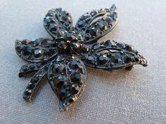 Vintage Black Rhinestone Brooch Japanned Metal Leaf Floral Pin 1960s Jewelry via Etsy