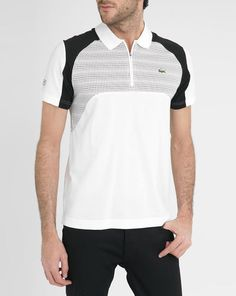 Black and White Sport Contrasting Graphics Zipped Collar Short Sleeved Polo Shirt LACOSTE