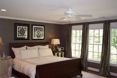 Soft Dark Wall Color Scheme and Classic Oak Bed Furniture Sets in Traditional Bedroom Design Ideas