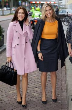 (R-L) HM Queen Máxima and HRH Crown Princess Mary at the 3d World Conference of Women's Shelters in the World Forum in The Hague