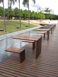 Angular tables and benches as street furniture