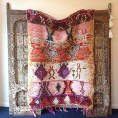 Beautiful Vintage Moroccan Rug woven by hand from scraps of fabric / boucherouite / boucherouette  They were beautiful crafted from the weavers