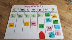 Tinker weekly planner with magnets for children - dorfmama.de - Instructions: weekly planner for children – dorfmama. Diy For Kids, Crafts For Kids, Toddler Activity Board, Maila, Craft Free, Weekly Planner, Kids Planner, Diy Toys, Family Activities