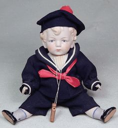 ANTIQUE JOINTED ALL BISQUE SAILOR BOY DOLL MOLDED HAIR SHOES W WHISTLE