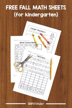 Keep math prep to a minimum with these FREE Fall math worksheets. We've included pattern work, a simple graphing exercise, and comparing two numbers. Teaching Kindergarten, Preschool Learning, Kindergarten Worksheets, Early Learning, Numbers Kindergarten, Teacher Blogs, Teacher Hacks, Teacher Stuff, Classroom Freebies