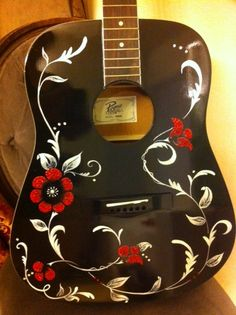Black hand painted guitar with clear crystal accents, and red crystal flowers. Custom Acoustic Guitars, Acoustic Guitar Case, Custom Guitars, Ukulele Art, Guitar Art, Music Guitar, Junk Gypsies Decor, Pinstriping Designs, Guitar Tattoo