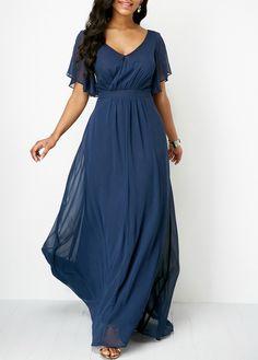 Navy Blue V Neck High Waist Maxi Dress   liligal.com - USD $39.63