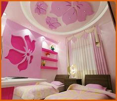 13 Pink Gypsum Board Design for Girl Kids Room That Looks Impressive
